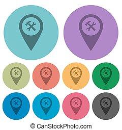 Workshop service GPS map location color darker flat icons