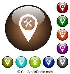 Workshop service GPS map location color glass buttons