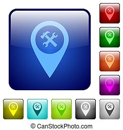 Workshop service GPS map location color square buttons