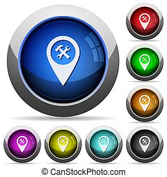 Workshop service GPS map location round glossy buttons