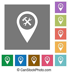 Workshop service GPS map location square flat icons