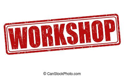 Workshop stamp - Workshop grunge rubber stamp on white,...