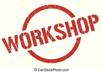 workshop stamp - workshop red round stamp