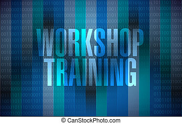 Workshop training binary background sign concept