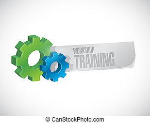 Workshop training gear sign concept