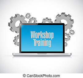 Workshop training laptop sign concept
