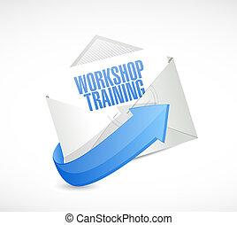 Workshop training mail sign concept