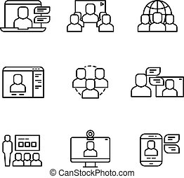 Workshop, video conference and online communication, business structure vector thin line icons