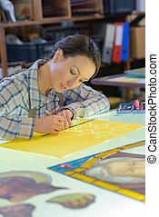 workshop, vrouwlijk, kunstenaar