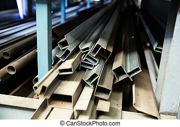 Workshop with metal beams components of industry