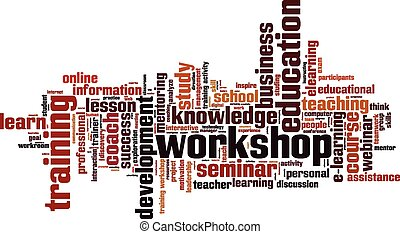 Workshop word cloud concept. Vector illustration