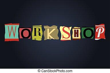 Workshop word on broken car license plates, vector