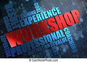 workshop., wordcloud, concept.