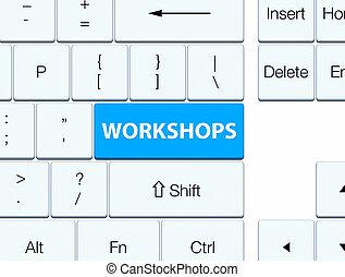 Workshops cyan blue keyboard button