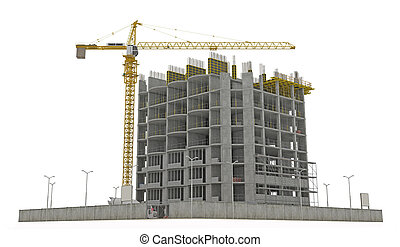 Worksite: unfinished building and tower crane isolated over...