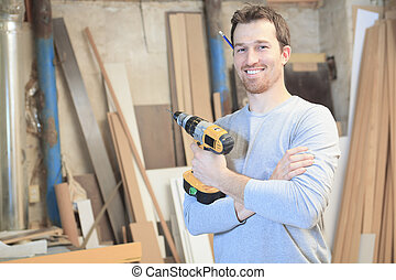 worksop, difícil, carpinteiro, trabalhando
