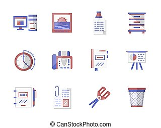 Workspace accessories flat color vector icons set
