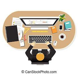workspace, biznesmen, miejsce pracy, planowanie, management., kariera, workspace, obserwacja, pracownik, illustration., pracujący, handlowy, pojęcia, brainstorming, projektować, rozwój, ilustracja, płaski