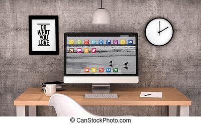 workspace computer desktop - digital generated workspace...