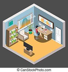 Workspace concept design isometric
