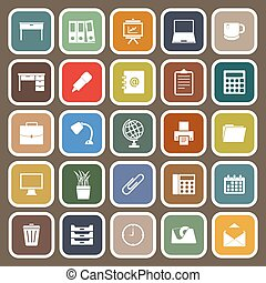 Workspace flat icons on brown background