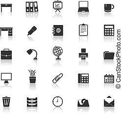 Workspace icons with reflect on white background