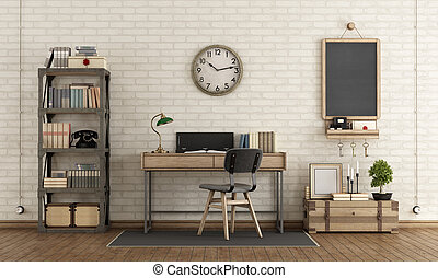 Home workspace in industrial style with desk, bookcase and retro objects - 3d rendering