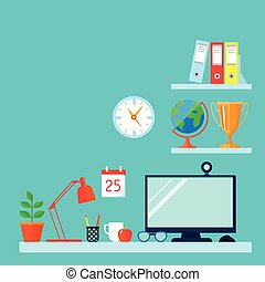 Workspace in room with table computer and bookshelves flat vector illustration