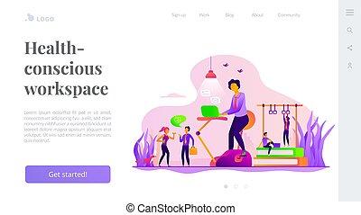 workspace, lądowanie, strona, szablon, fitness-focused