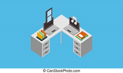 workspace laptops files and books folder animation hd