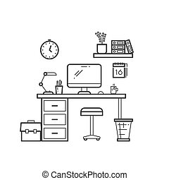 Workspace line concept - outline workplace with computer on white background