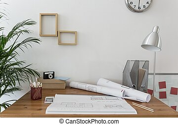 Workspace of creative designer