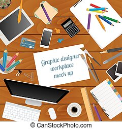 Workspace of the graphic designer