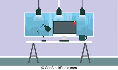 workspace office scene - workspace office desk computer lamp...