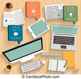 Realistic workplace organization. Top view with textured table, mac, notebook, tablet, note paper, glasses, newspaper, diary and coffee mug.