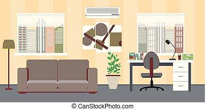 workspace, rozluźnić, freelancer, płaski, wewnętrzny, praca, dom, design.