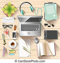 Workspace top view. Office desk organization and order...