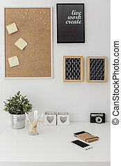 Workspace with bulletin board - Vertical view of workspace ...