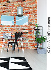 Workspace with red brick wall