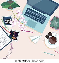 Work place top wiev. Desk with laptop, pot flowers, cup of coffee, pencils and photos. Vector illustration