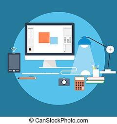 Workstation - Flat style vector illustration of workstation...