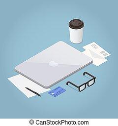 workstation, laptop, isometrico, illustrazione