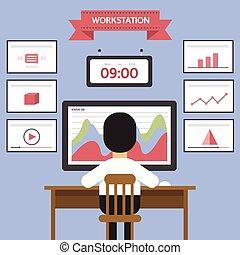 Workstation, web analytics information and development website statistic, flat design