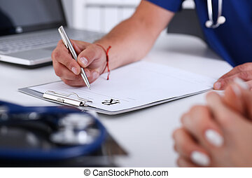worktable, kantoor, arts, hand, schrijf, recept, mannelijke