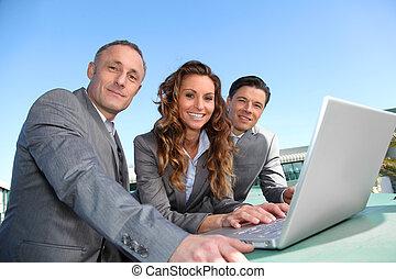 workteam, durante, um, curso negócio, reunião