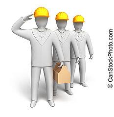 workteam, gereed, te werken