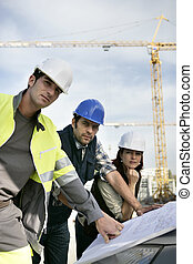 workteam, sur, site construction