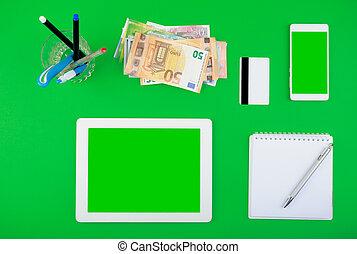 worktop, karta, prospekt., czysty, pióro, notatnik, smartphone, ekran, organiser, biały, pieniądze, kredyt, górny, tabliczka