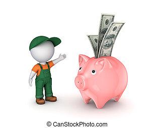 workwear, piggy-bank., persona, 3d, pequeño