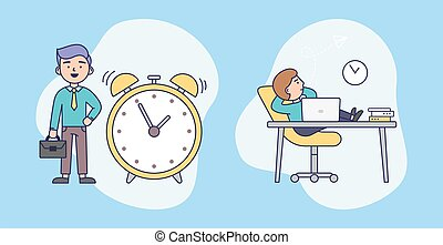 Workweek And Weekend Difference Concept. Male Characters Spending Time Set. Office Worker And Freelancer, Productive Working Hours. Colorful Cartoon Flat Style Vector Illustration On Blue Background.